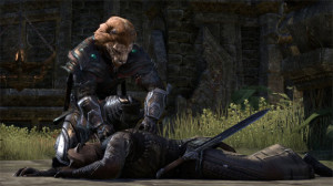 A brave Khajitt falls while another, hey, you can't loot players in ESO! Dang cat people.