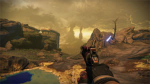 Destiny has a traditional shooter interface where you will spend a lot of time looking at your hands and your weapons, or down a scope if you are lucky enough to have one.