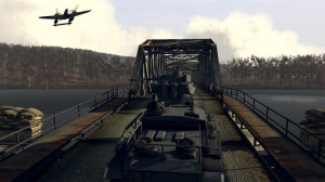 It looks like capturing this bridge will be a cakewalk with so many tanks, but beware that scout plane in the distance which could call in our position.
