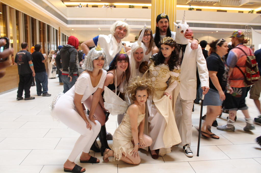 These Legend cosplayers (female lead and fairy) had their own troupe of unicorns!