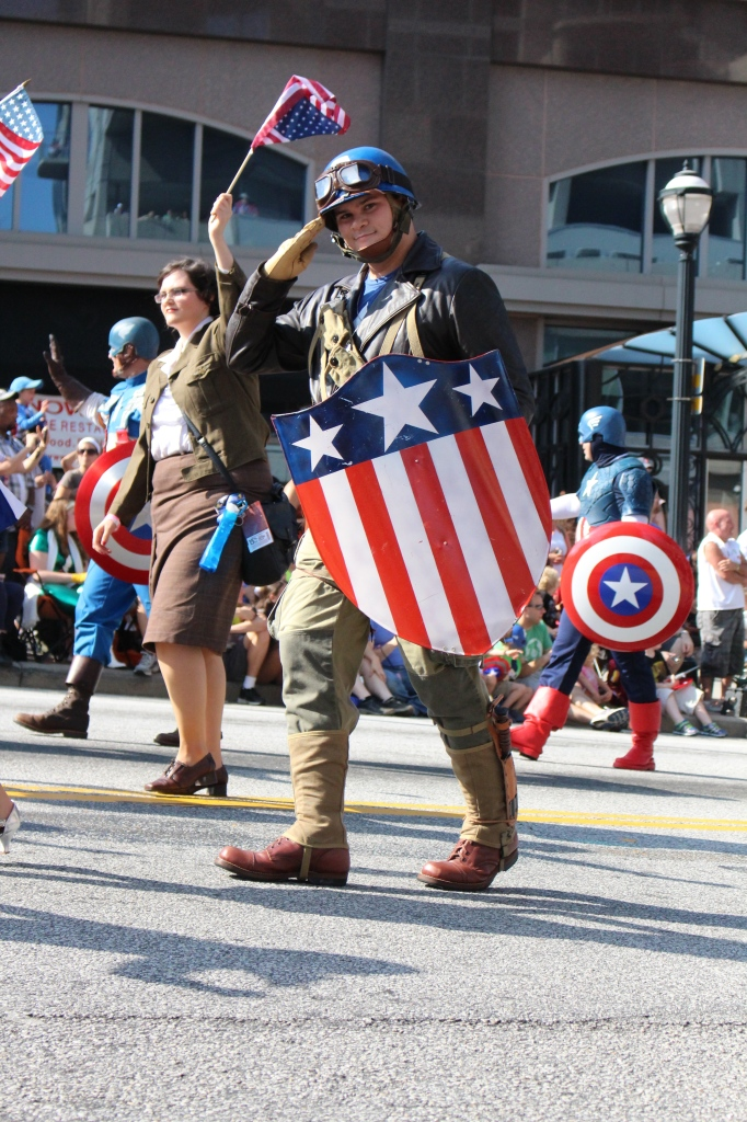 A WWII era Captain America salutes us as he passes, and we feel proud to be an American!