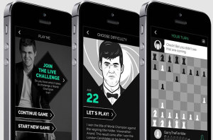 Magnus Carlsen giving advice to some players in his app.