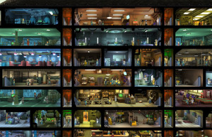 It will take a while to build up a huge vault like this one, but it can be done. You can also zoom in to see what is going on in each of the game's rooms.