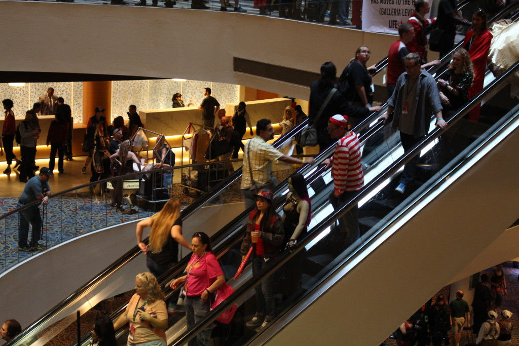 We found him! Waldo is always a popular cosplay, but this time, Marie was able to capture a shot of him surrounded by folks on an escalator. It's like a scene out of the books, and her favorite photo of DragonCon 2015.