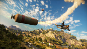 Now this, well, this is just insane. But it happens all the time in a game like Just Cause 3.