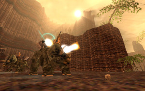 And sometimes Turok has to face human soldiers riding on top of dinosaurs! How can he survive?