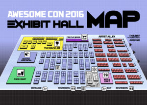 A map showing how the exhibit floor was set up.