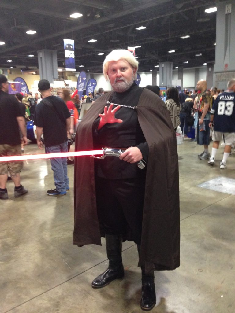 Count Dooku from Star Wars. This cosplayer had the spirit of the character, really liked the addition of the lightsaber.