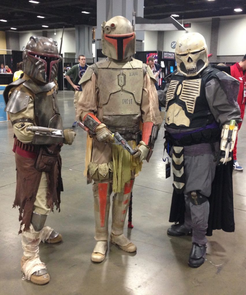 Mandalorian bounty hunters from Star Wars. These guys were awesome.