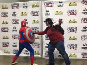 Spiderman vs the Winter Soldier from Captain America: Civil War at the Avengers photo shoot at AwesomeCon 2016.