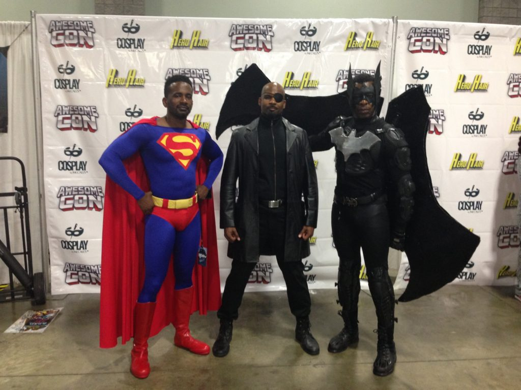 Superman, Nick Fury from Avengers, and Batman. The batman wings were a great addition to the costume.