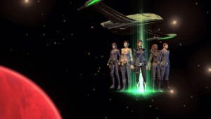A Romulan character and crew as seen in Star Trek Online.
