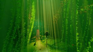 ABZU takes the player to many underwater places. Here the diver journeys into a kelp forest.