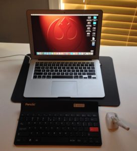 The Penclic mini keyboard and B2 mouse with my MacBook Air. Penclic is plug and play with no drivers to install.