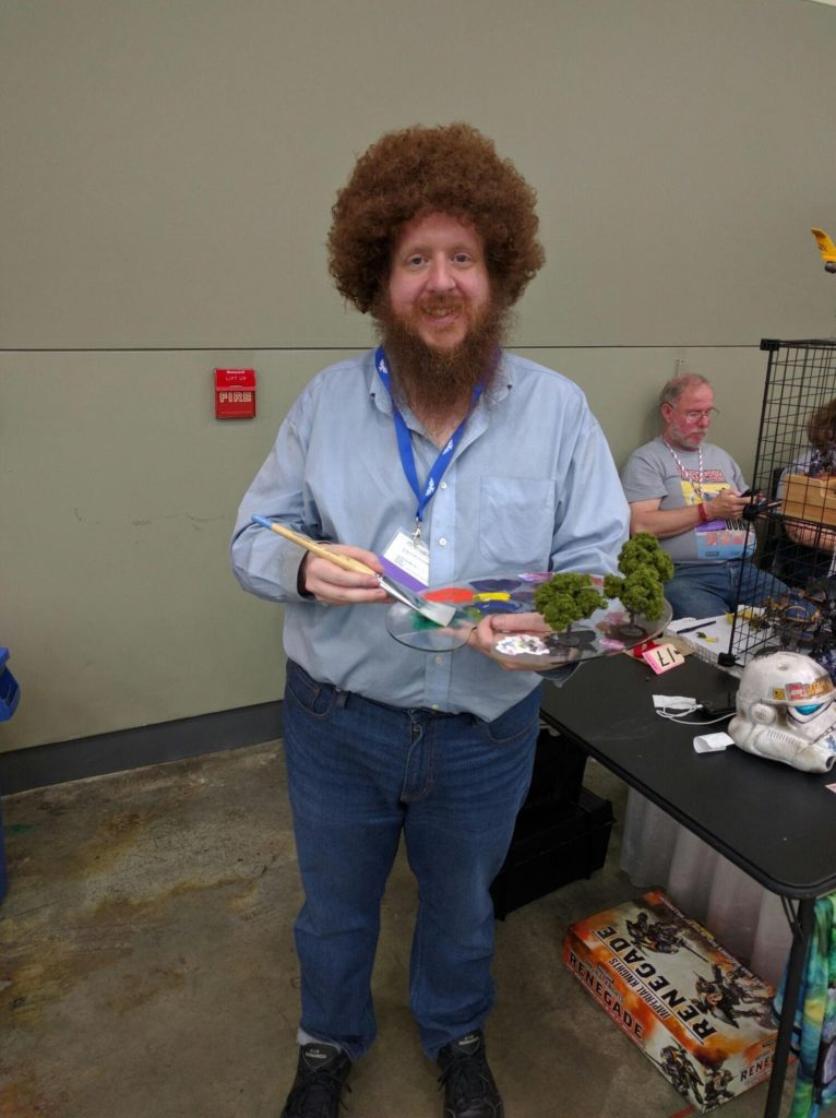 One of our favorite costumes of the entire show, painter Bob Ross.