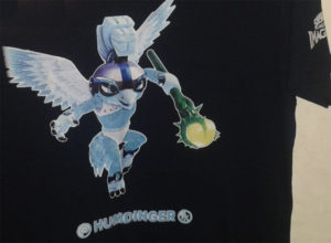 GiN's own unique hero charater, Humdinger, immortialized on a t-shirt. You can order ones for your own heroes too!