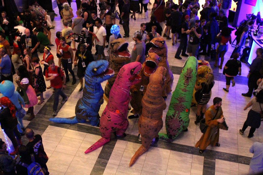 "Meanwhile, the T-Rexs got together for a dance party at the Hilton. This year, the Hilton featured a DJ, and the Jedi DJ (who was hip to his audience, as it were) played ""Everybody do the Dinosaur"" when the T-Rexes swarmed the dance floor in the Hilton lobby. This was doubtlessly photographer Robert's favorite event."