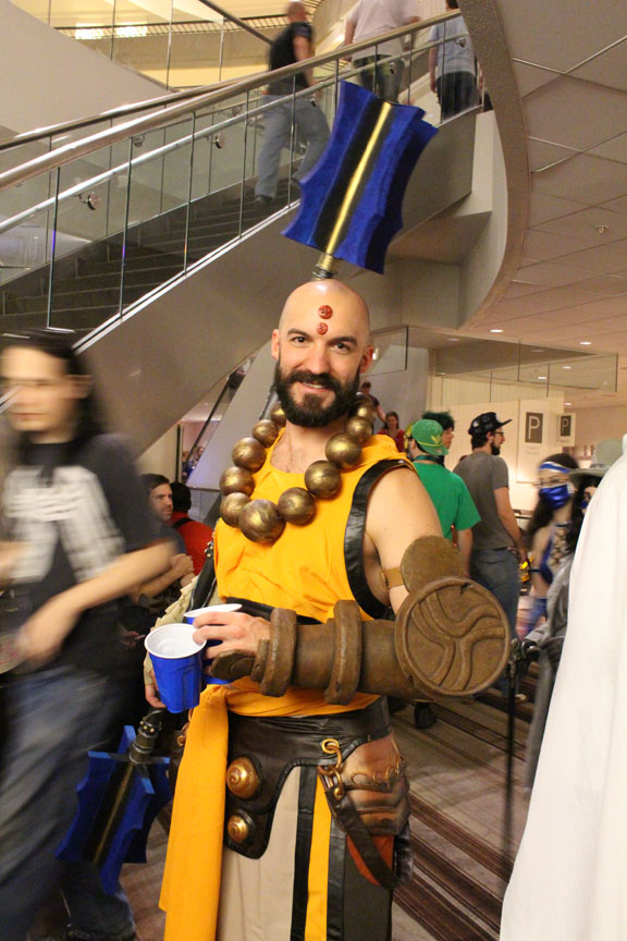 A Monk from Diablo 3 is ready to punch up a good time.