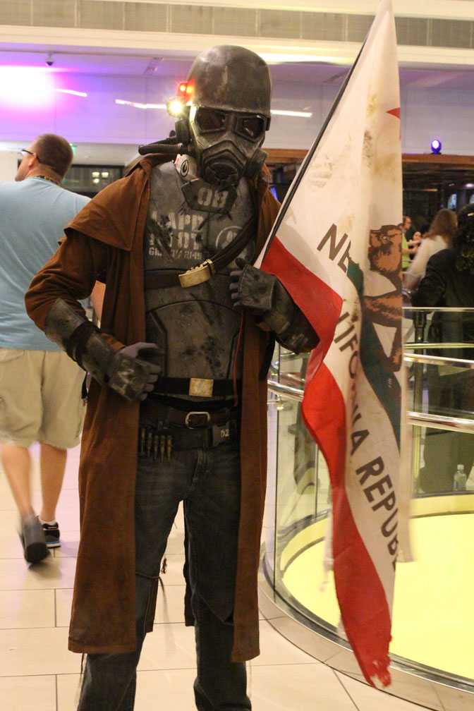 Featured in the into picutre, this Desert Ranger from Fallout New Vegas was committed to the part, even proudly planing a New California Republic flag wherever he went!