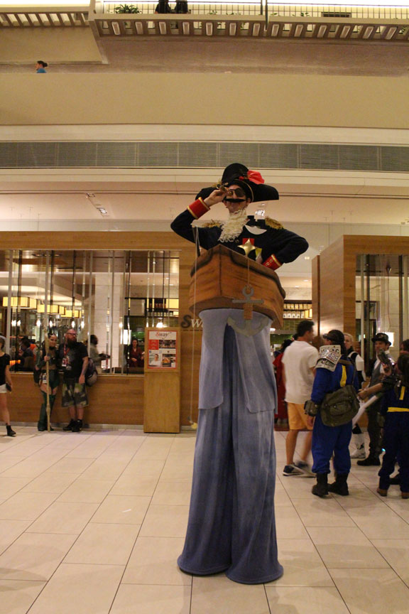 Some cosplayers used height to their advantage to help their charactes stand out in the crowd.