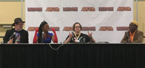 The full Black Panther panel from Baltimore Comic-Con. From left to right are Tom Brevoort, Afua Richardson, Laura Martin and Brian Stomfreez.