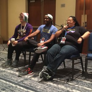 "From left, A.K. and CeeJay Bacchus along with Tanya DePass - the founder and director of I Need Diverse Games and cast member for Wizards of the Coast ""Rivals of Waterdeep"" host a panel at Blerdcon 2018."